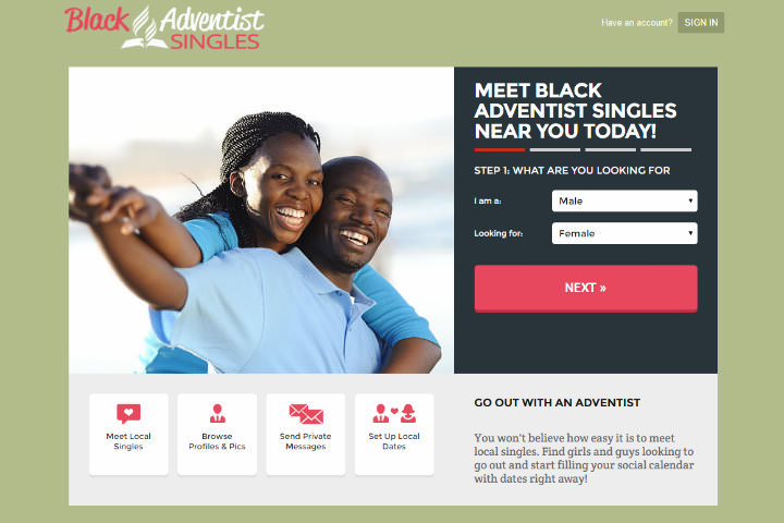 Black Adventist Singles homepage