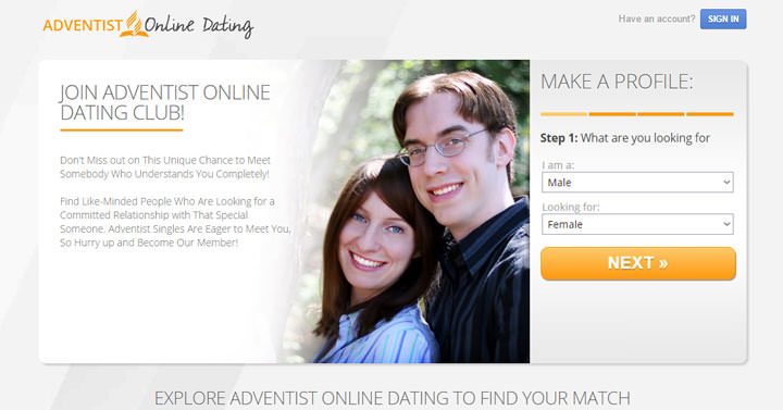 Adventist Online Dating homepage