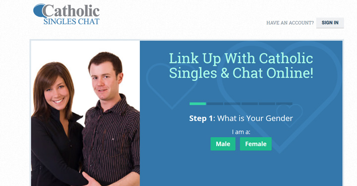 Catholic Singles Chat printscreen homepage