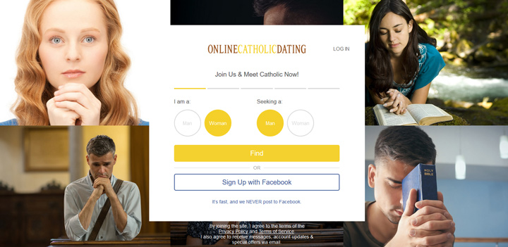 Online Catholic Dating printscreen homepage