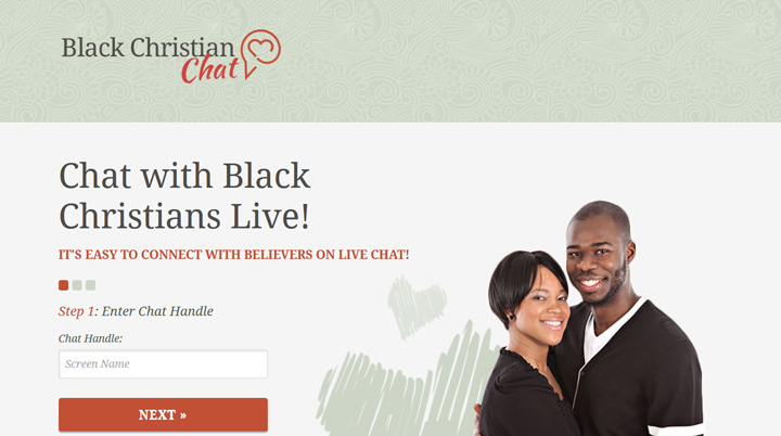 black christian chat homepage printscreen