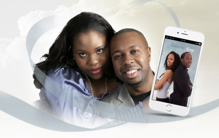 black christian loving couple and smart phone