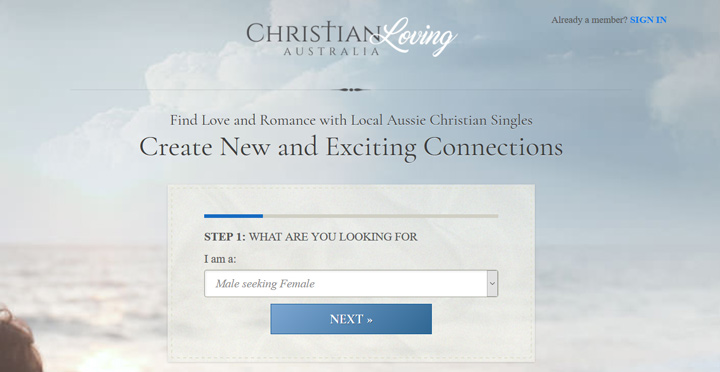 christian loving au printscreen homepage
