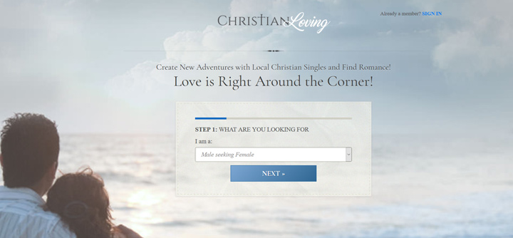 christian loving printscreen homepage