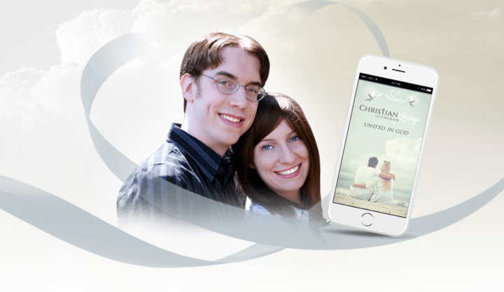 lutheran christian loving couple and smart phone